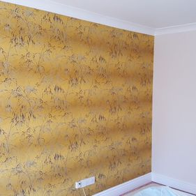 yellow feature wall