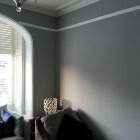grey and white wall in living room