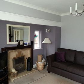 purple living room interior design