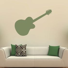 green guitar wall art