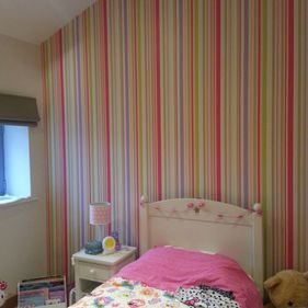striped feature wall pink green purple